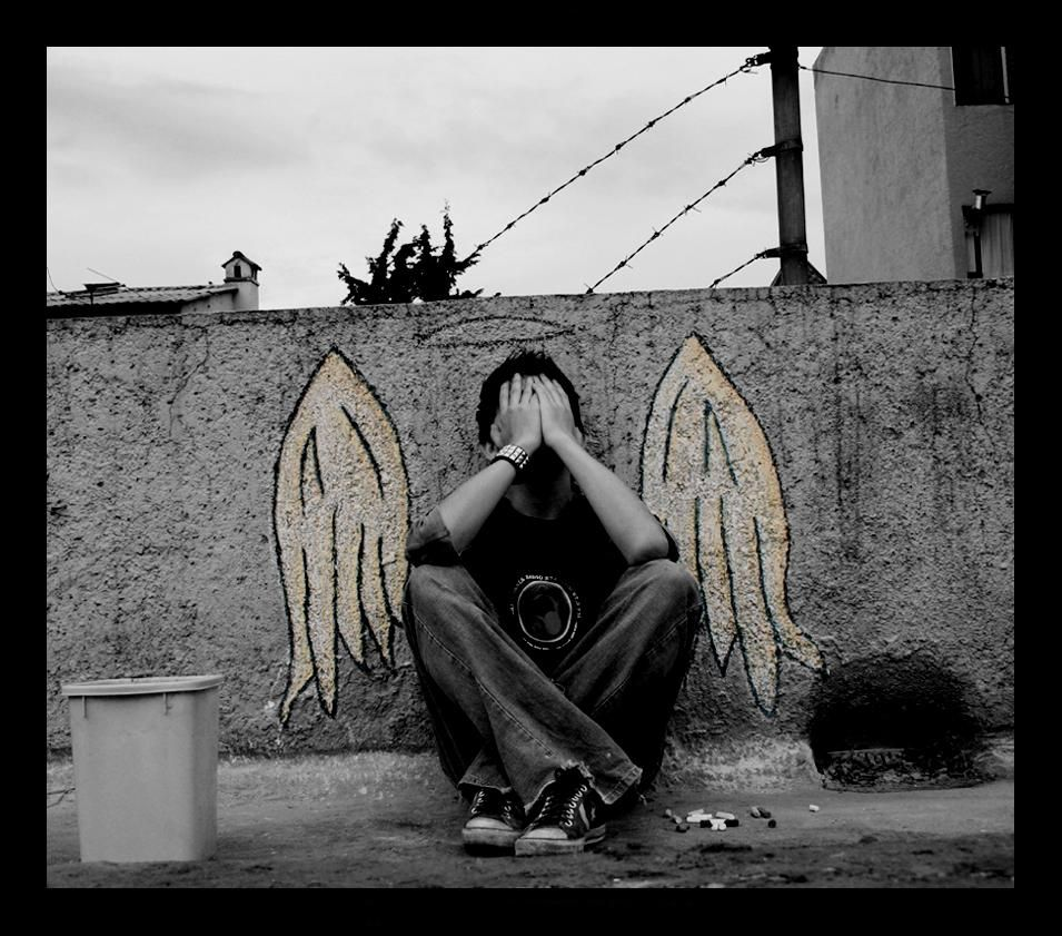 Street Art Angel Alone Without