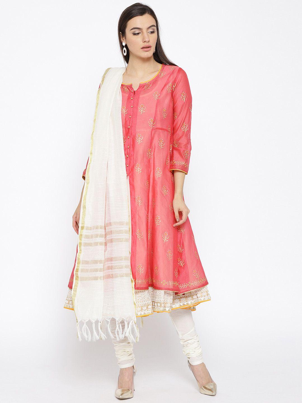 d78d4cbd8b3 Biba Women Pink   Off White Printed Kurta With Churidar   Dupatta - Kurta  Sets for Women 6844814
