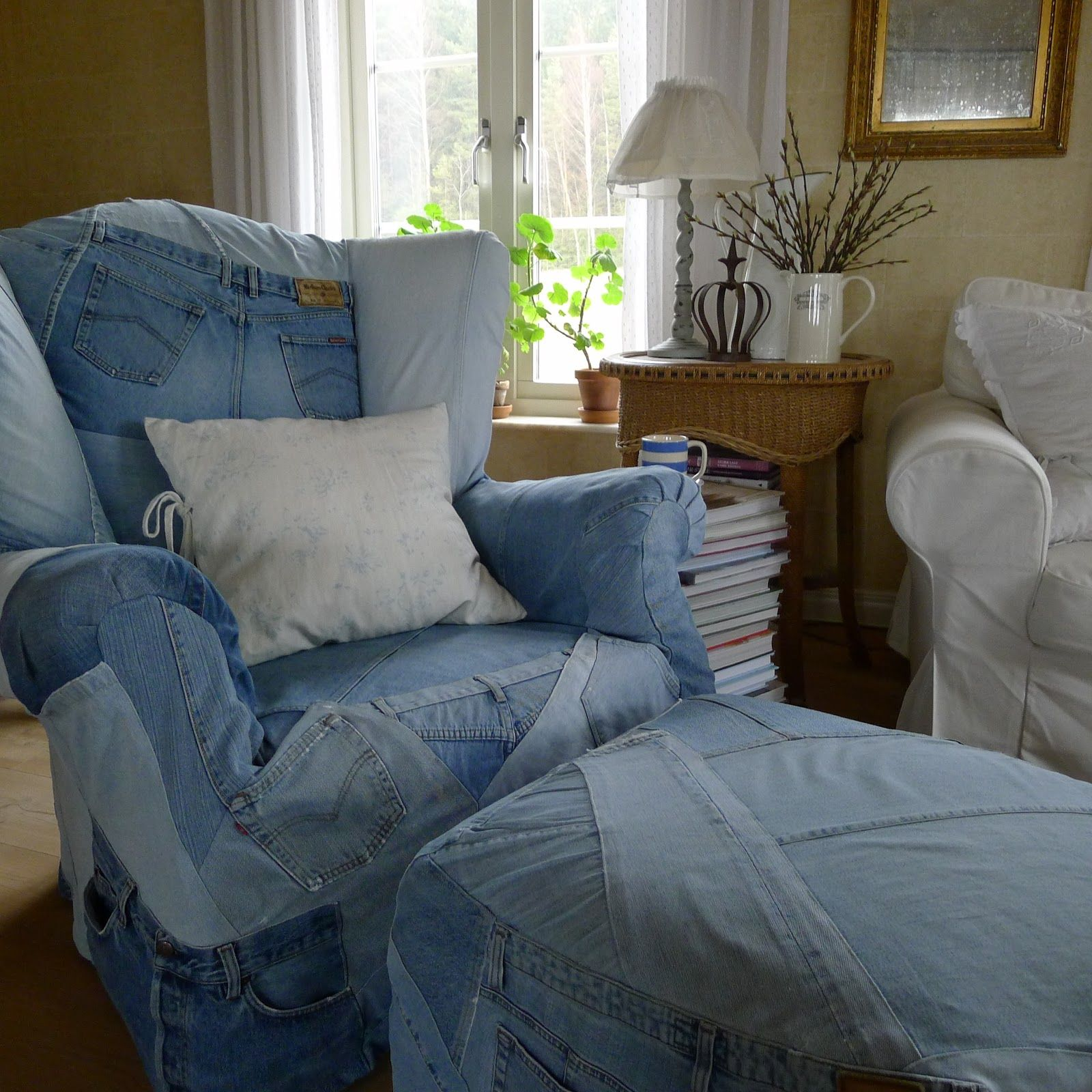 Denim chair and ottoman slipcovers by mia in norway inspired by ralph lauren