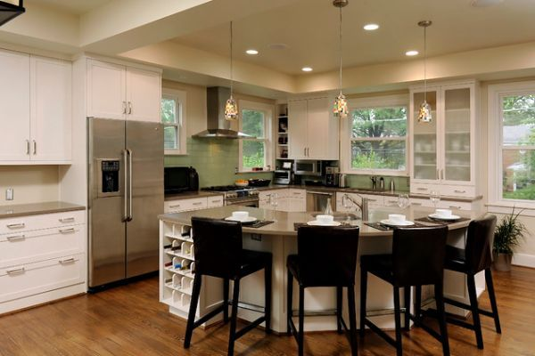 30 Kitchen Islands With Tables A Simple But Very Clever Combo Curved Kitchen Island Curved Kitchen Round Kitchen Island