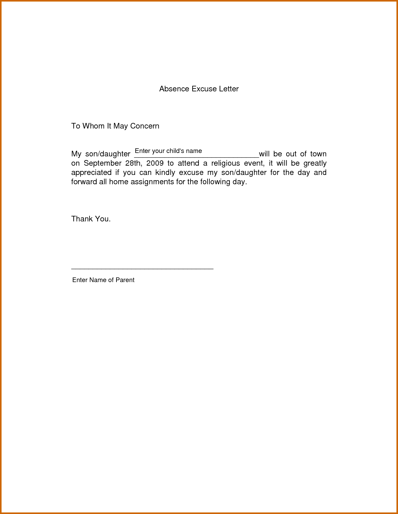 absent from school letter template