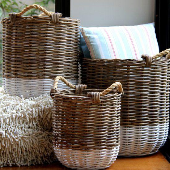 Round Rattan Baskets Storage White Stripe Wicker Basket Satara Australia