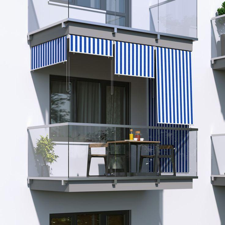Rollo für Balkon / Markise Weiß-Blau 100x240cm  Agnieszka Siemieniewska #sichtschutzfürbalkon