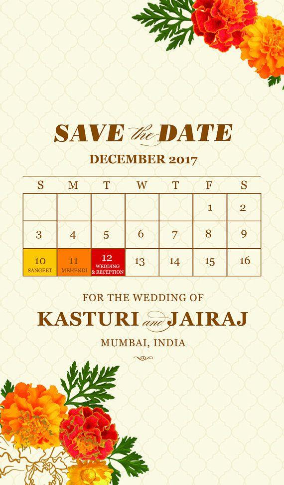 digital save the date marigold brass bell indian wedding