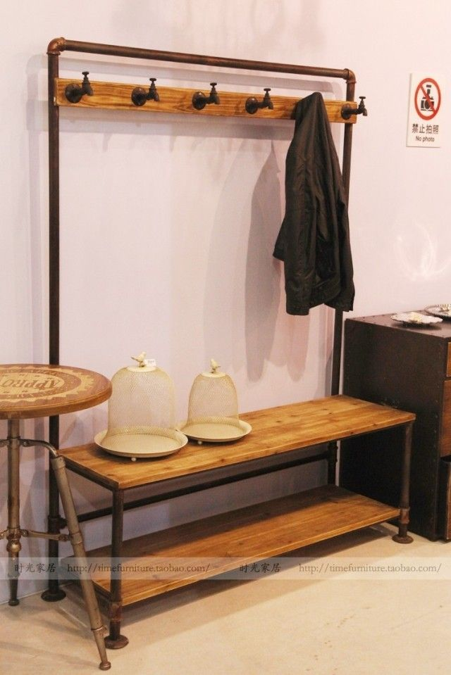American retro wood floor doing the old iron pipe hangers - Bedroom furniture for hanging clothes ...