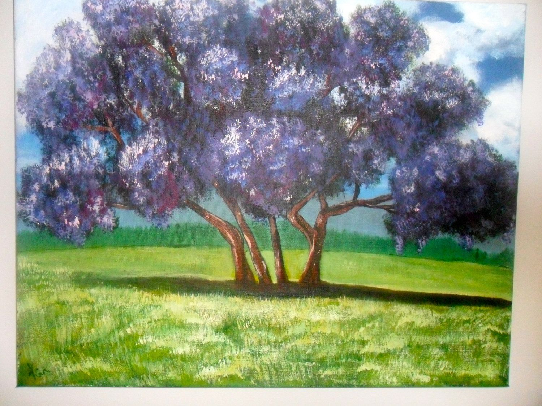 Beautiful Jacaranda tree painting.  18 x 14 Acrylic on canvas.. $60.00, via Etsy.