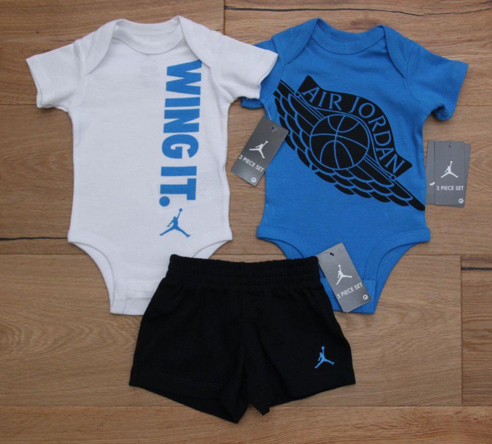 separation shoes 587ad d51e7 Air Jordan Baby Boy 2 Bodysuits   Shorts Set ~ Blue, Black   White ~ Wing  It ~  Jordan  BabyBoy  Jumpman  WingIt