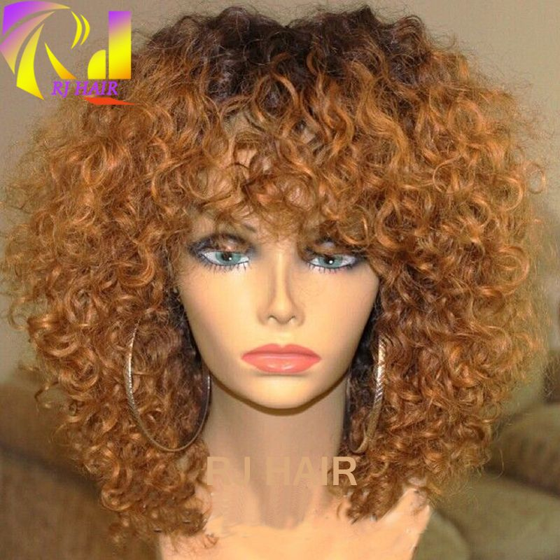 Blonde Ombre Curly Wig Dark Root Curly Wig Curly Ombre Wig With Bangs Curly Hair Wig Whatsapp 0086 Human Hair Lace Wigs Wig Hairstyles Natural Hair Styles