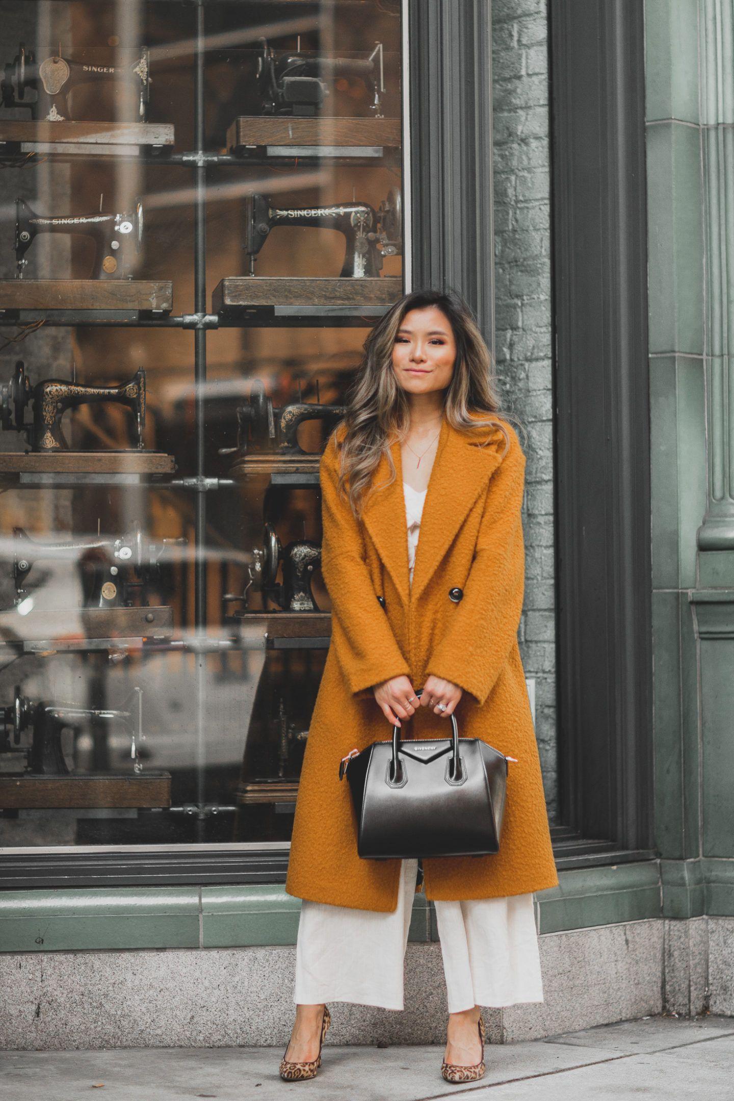 5d731a3b174 Fashion blogger Miss Louie wearing topshop boucle coat givenchy small  antigona bag and sam edelman hazel pumps in union square san francisco