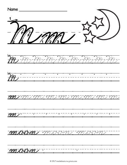 Free Printable Cursive M Worksheet   Cursive Writing ...