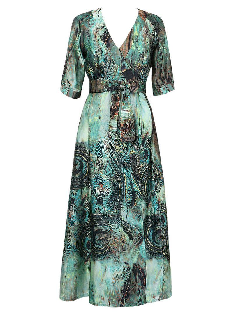 Green wrap vneck half sleeve tie waist maxi dress baju cantik
