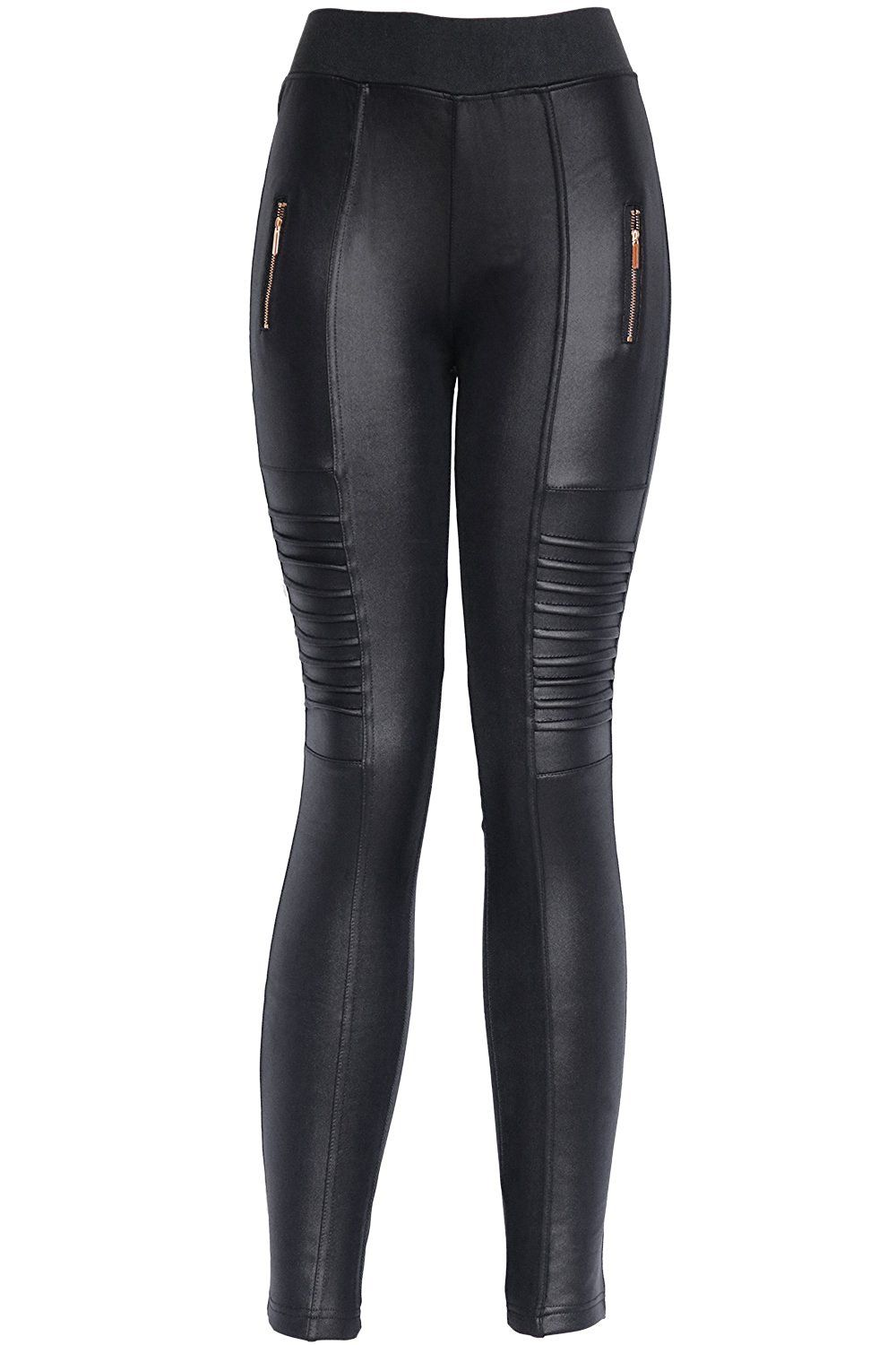 a335a1588c636a KMystic Winter Biker Faux Leather Pants (Small/Medium, Black) at Amazon  Women's Clothing store:
