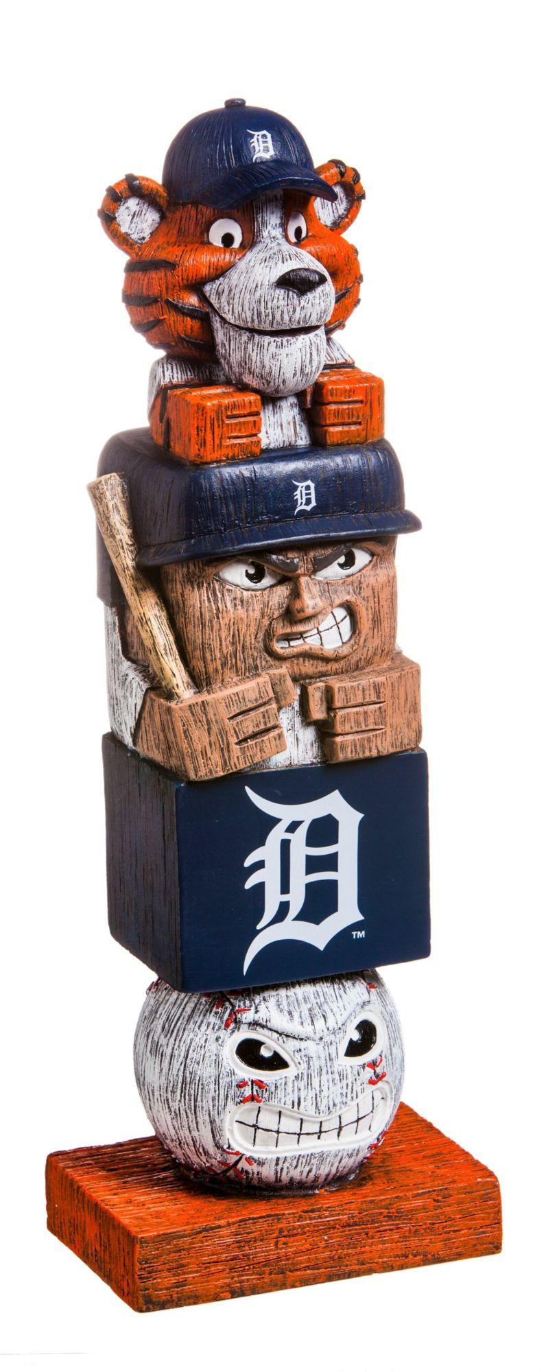 Your passion for your team won't go unnotcied with the Evergreen® Detroit Tigers Tiki Totem. Tiki Totem Team totem with team graphics Made of handpainted polystone Safe for indoor and outdoor use Additional Details Measures: 16in tall Officially licensed by the MLB®