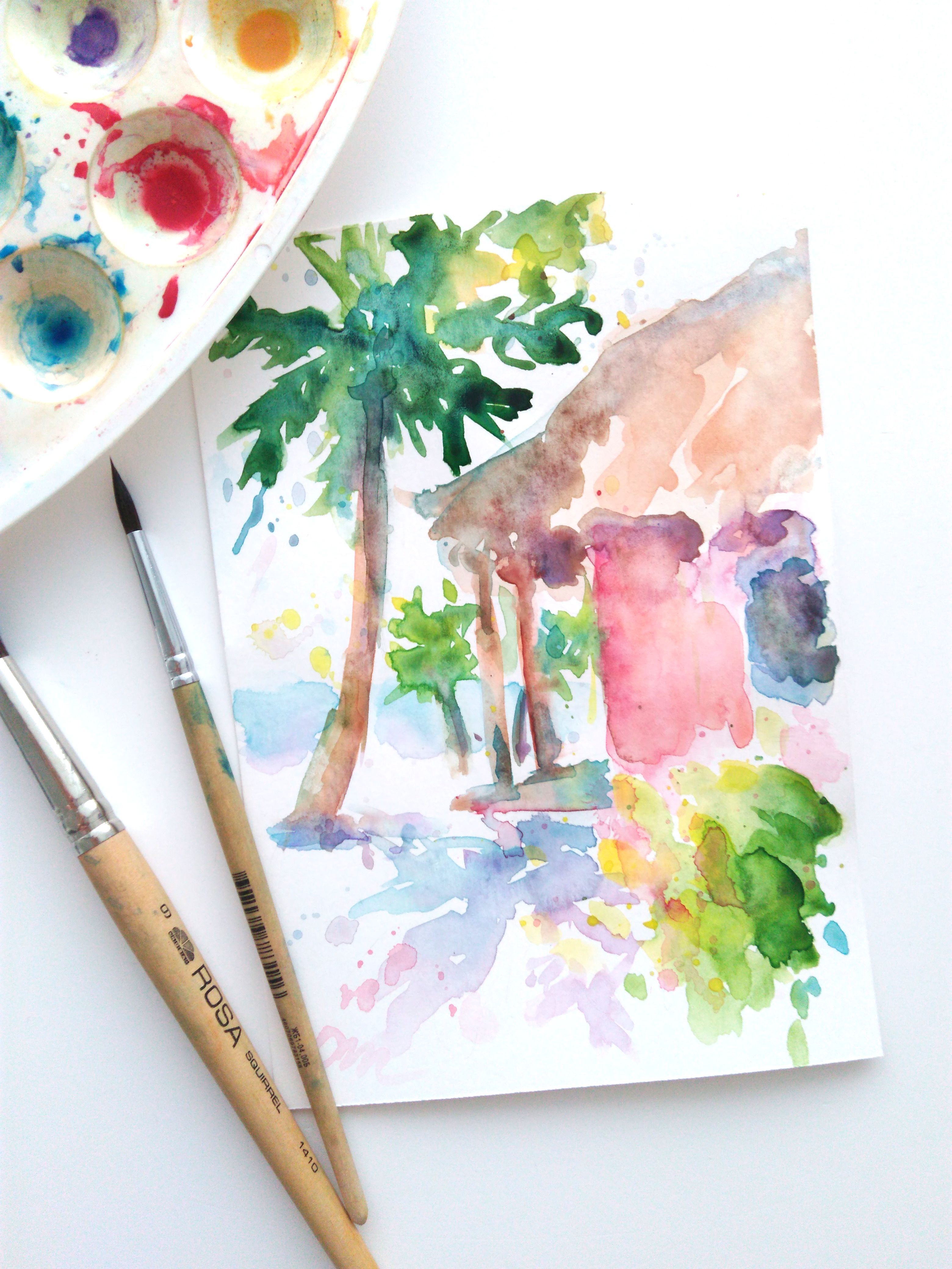 Hawaii Beach Watercolor Painting Original Small Art Tropical