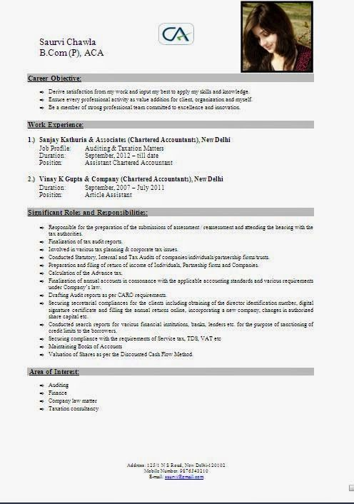 curriculum vitae samples uk Sample Template Example ofExcellent - chartered accountant resume