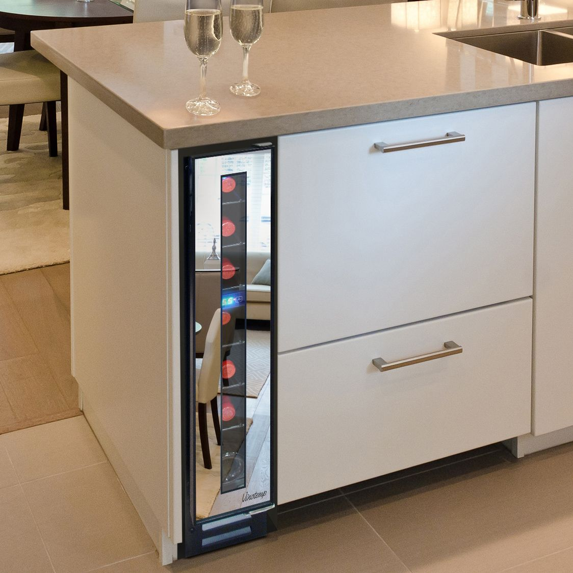 Narrow Wine Cooler By Vinotemp Saves Space And Looks Cool Small Wine Fridge Wine Cabinets Modern Kitchen Design