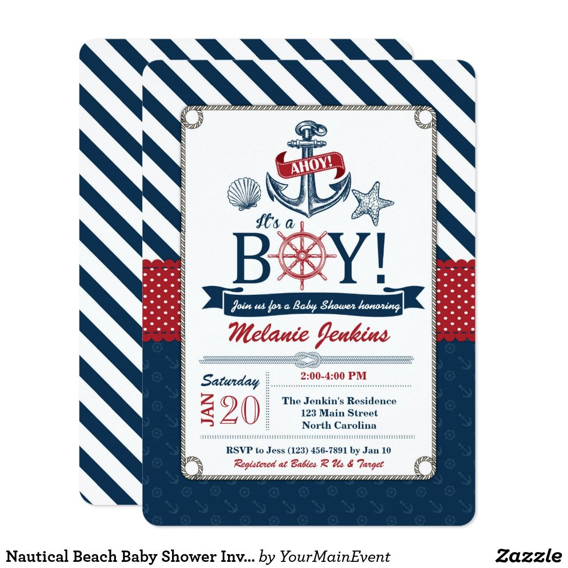 Nautical Beach Baby Shower Invitation Ahoy it\'s a boy! This navy ...