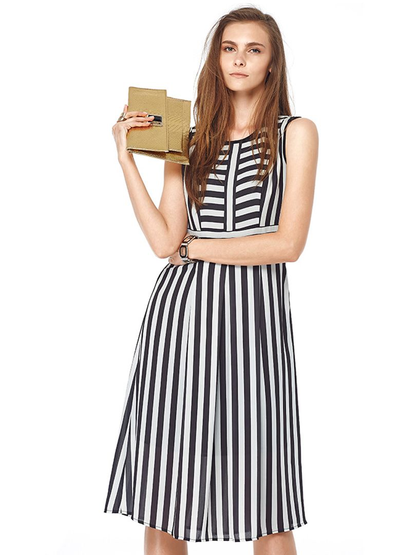 b96ad852e60 Monochrome Mixed Stripe Print Sleeveless Chiffon Midi Dress
