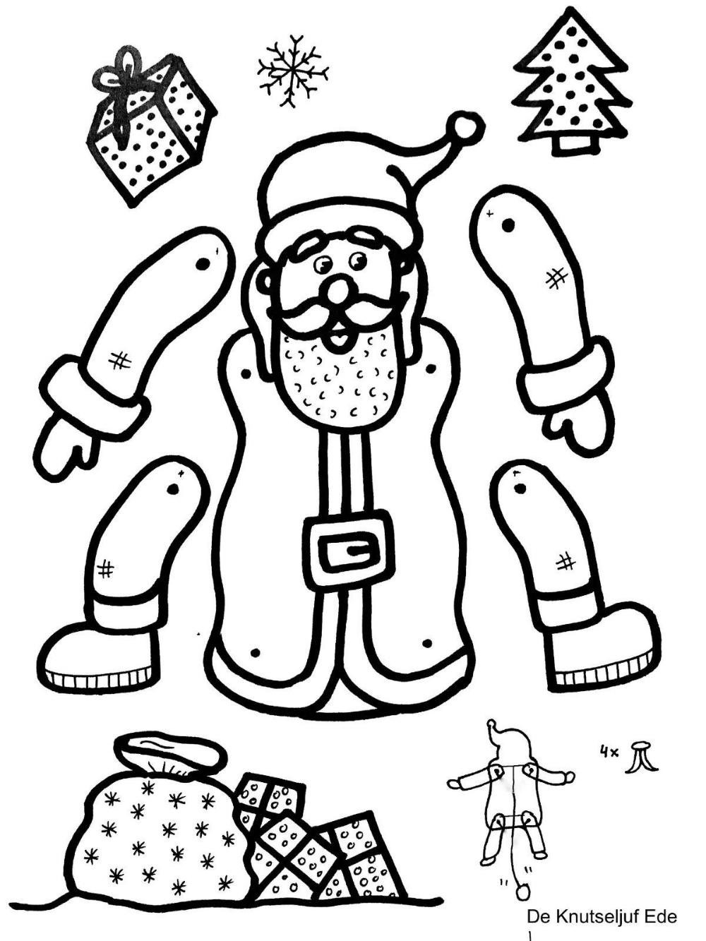 kerst trekpop kleurplaten kerstman en rendier met