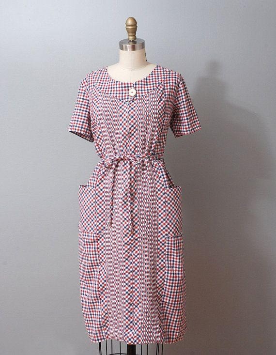 1960s Dress  Red and Blue Plaid Pintuck Day by OldFaithfulVintage, $45.00