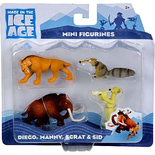Ice Age Continental Drift Movie Mini Figure 4Pack Diego, Manny, Scrat, Sid by TPF Toys. $19.99. Ages 3+. Ice Age Continental Drift 4-Piece Mini Figurine Pack includes mini figurines of your favorite characters from Ice Age Continental Drift, Diego, Manny, Scrat, and Sid.. Ice Age 3 Figure Collection - Includes Diego/Manny/Scrat/Skid. Ice Age Continental Drift 4Piece Mini Figurine Pack includes mini figurines of your favorite characters from Ice Age Continental Drift,...