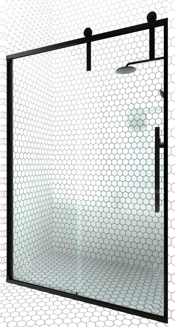 Gridscape GS1 Fixed Shower Screen Panel in Black with Clear Glass