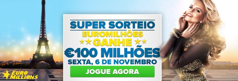 Mais uma chance IMPERDÍVEL de ficar milionário! São 100 milhões de euros, 6 de novembro de 2015 no www.grandesloterias.com #loteria