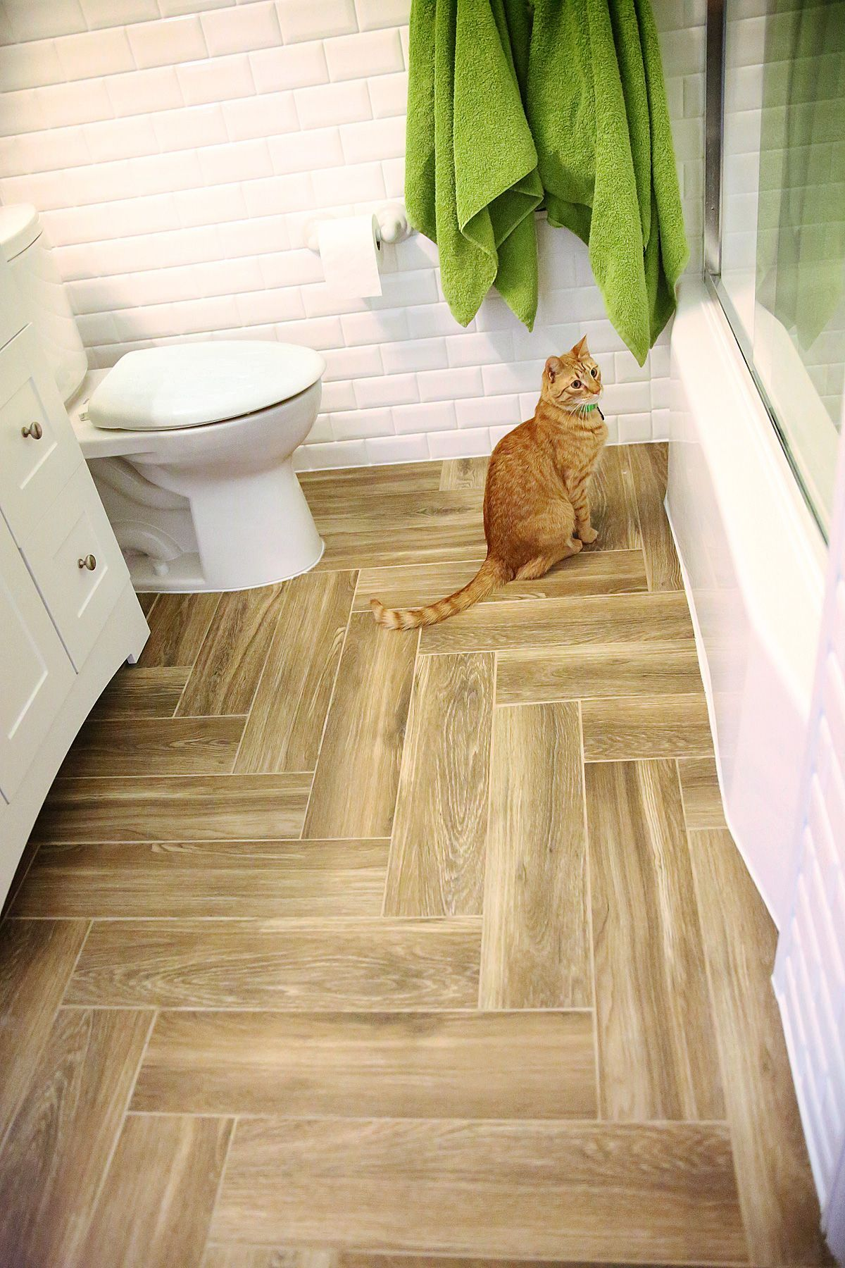 Herringbone Porcelain Plank Small Bathroom Floor Use In Vertical Staggered Rows Not Herringbone Love Color Flooring Herringbone Tile Floors Tile Floor