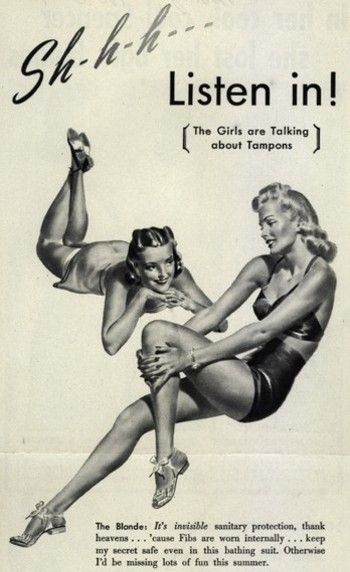 Tampons and Maxi Pads | Women's Health | Funny vintage ads