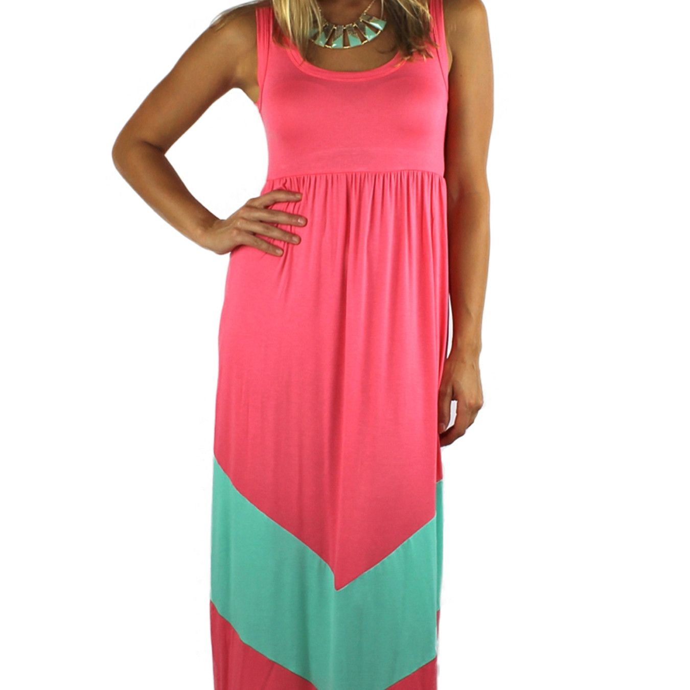 Sleeveless Chevron Maxi Dress - Pink/Mint by H.C.B.