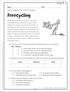 Freecycling: Grade 4 Close Reading Passage | Worksheets | Pinterest