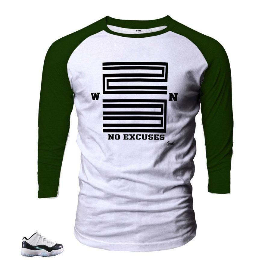 18fe96d610d5 Shirts match Jordan 11 Easter emerald green shoes to match 11 s sneaker  colorway. ST Clothing - Win 23 Raglan Shirt -100% Cotton -Fits True To Size  -Matches ...