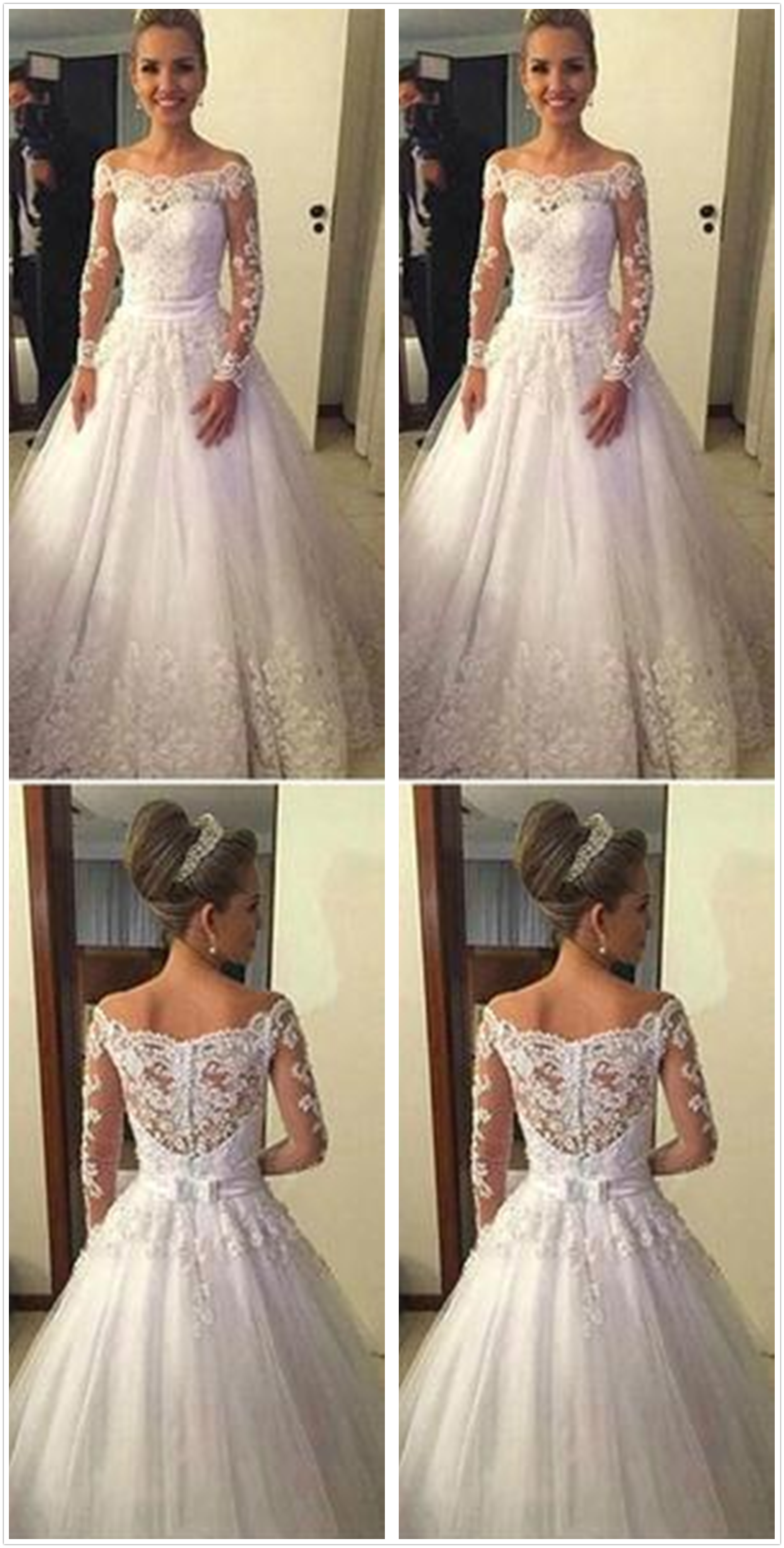 4b5d40387072f Cheap Vantage Off Shoulder Long Sleeve White Lace Tulle Wedding Party  Dresses