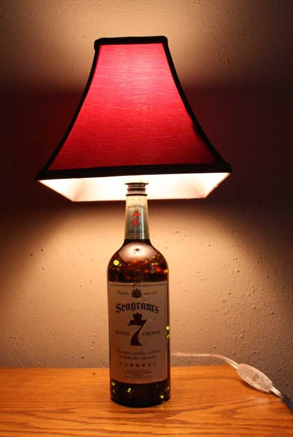 Whiskey bottle lamp and night light with lamp shade for Champagne bottle lamp