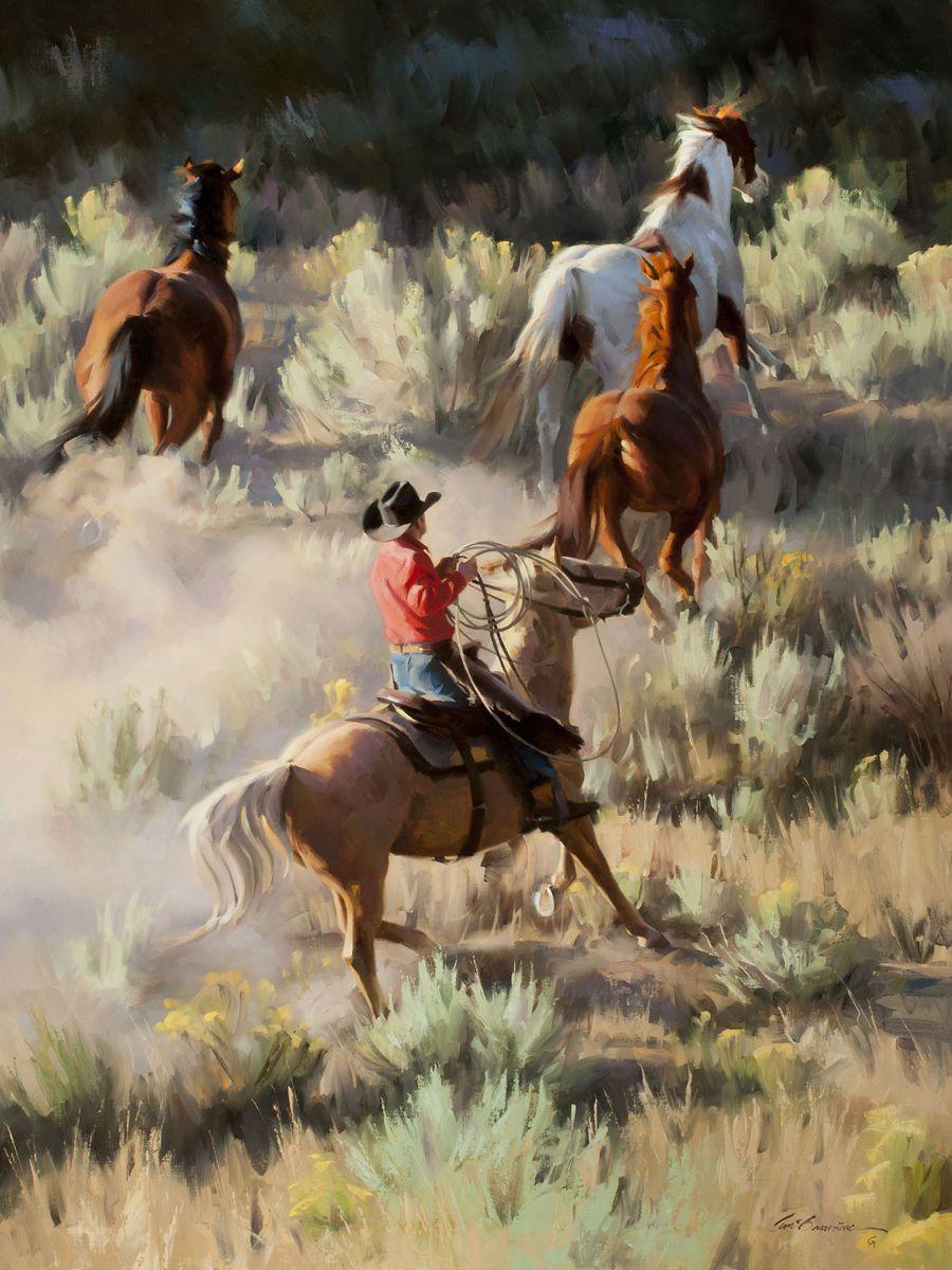 Tom Browning Portfolios Uphill Chase Western Art Cowboy Art Art