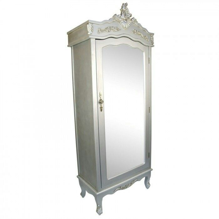 Gentil French Silver Single Door Armoire With Mirrored Door (please Note. This  Product Requires The Anti Topple Safety Bracket Provided With The Wardrobe  To Be ...