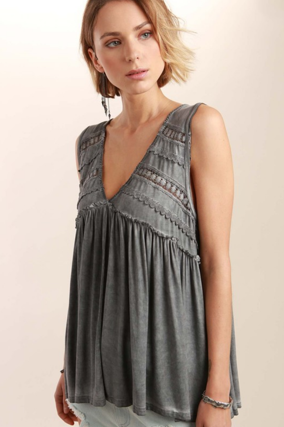 4406680df45 Crochet   Ruffled Gray Soft Tank – Thistle   Finn