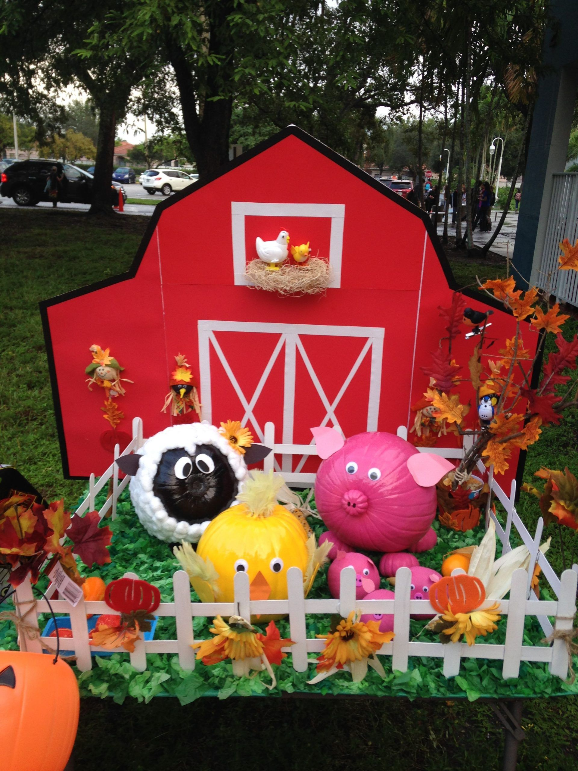Farm animals with pumpkins. Farm animals made with