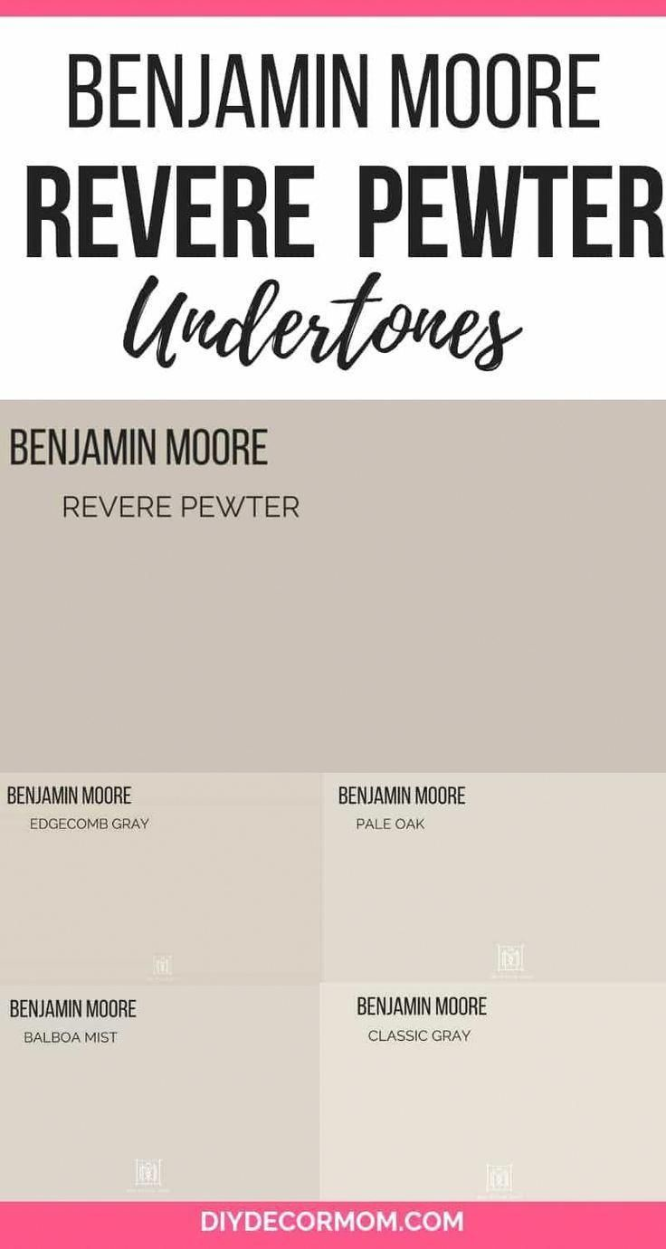 Benjamin Moore's Revere Pewter is the perfect gray paint color for your living room! It is a wonderful light gray that goes well in any color scheme! See how BM Revere Pewter looks in all different types of rooms in this post including kitchens, dining ro #livingroompaintcolorideas