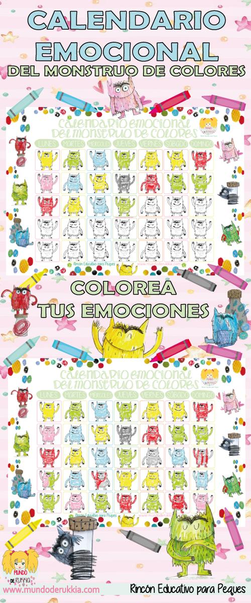 Calendario Emocional del Monstruo de Colores | educación de las ...