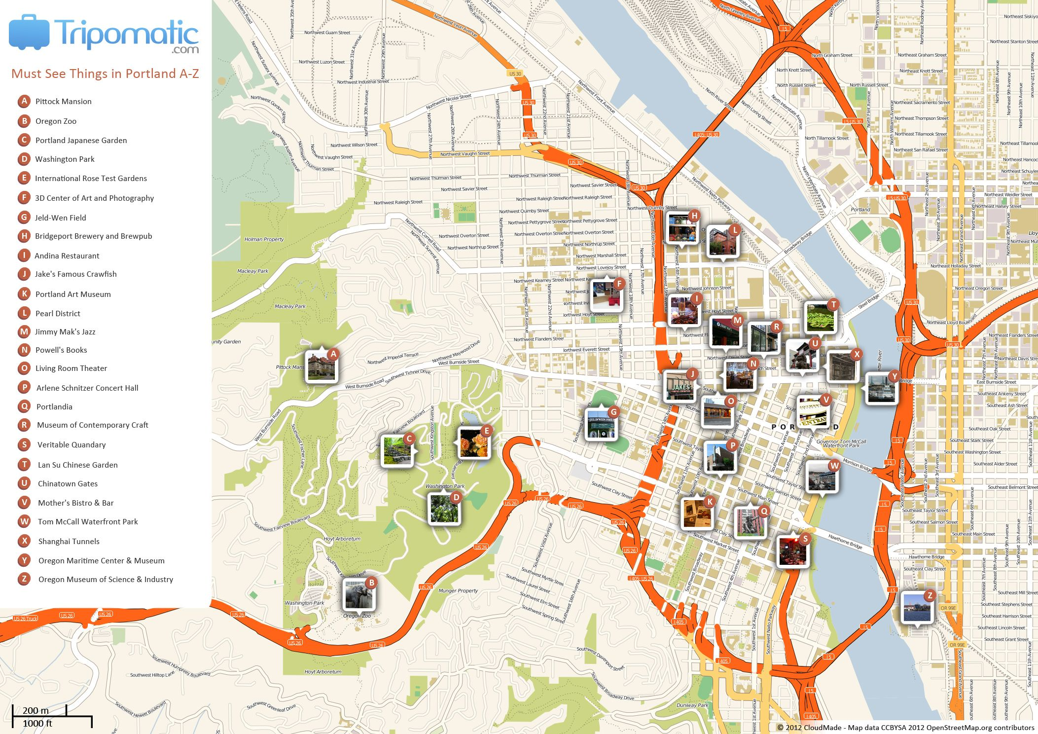 Free Printable Map Of Portland Attractions From Tripomaticcom - Portland oregon on the usa map