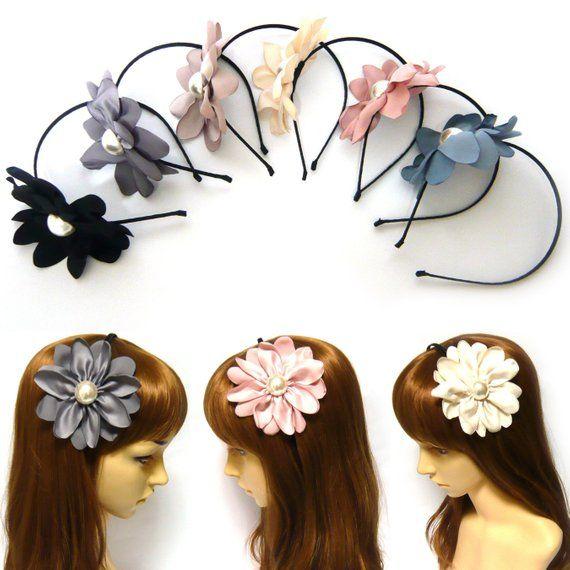 Big Large Huge Satin Fabric Flower Floral Slim Thin Headband Hairband  Headpiece Women Lady Girl Roma 8394e6c1c68