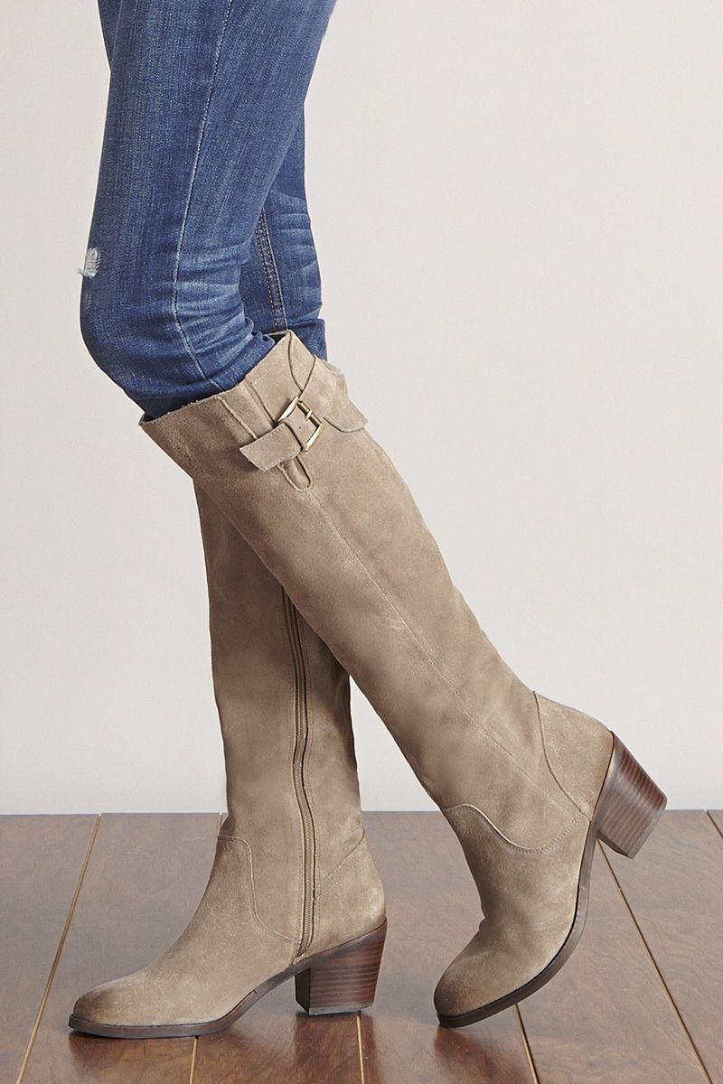 10b99dfd57a Taupe suede boots with chic buckles
