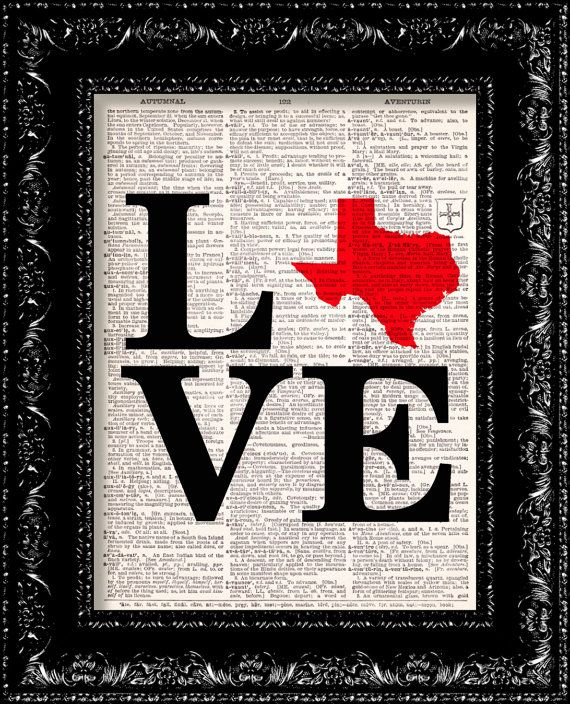 I Heart Texas  State Map  Map Art Print  by TheRekindledPage, $8.98