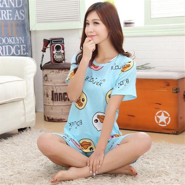 2017 Women Pajamas Sets Hot Summer Short Sleeve Thin Cotton Cartoon Print  Loose Sleepwear Girl pijamas Mujer Nightgown For Women e7c8b8da7