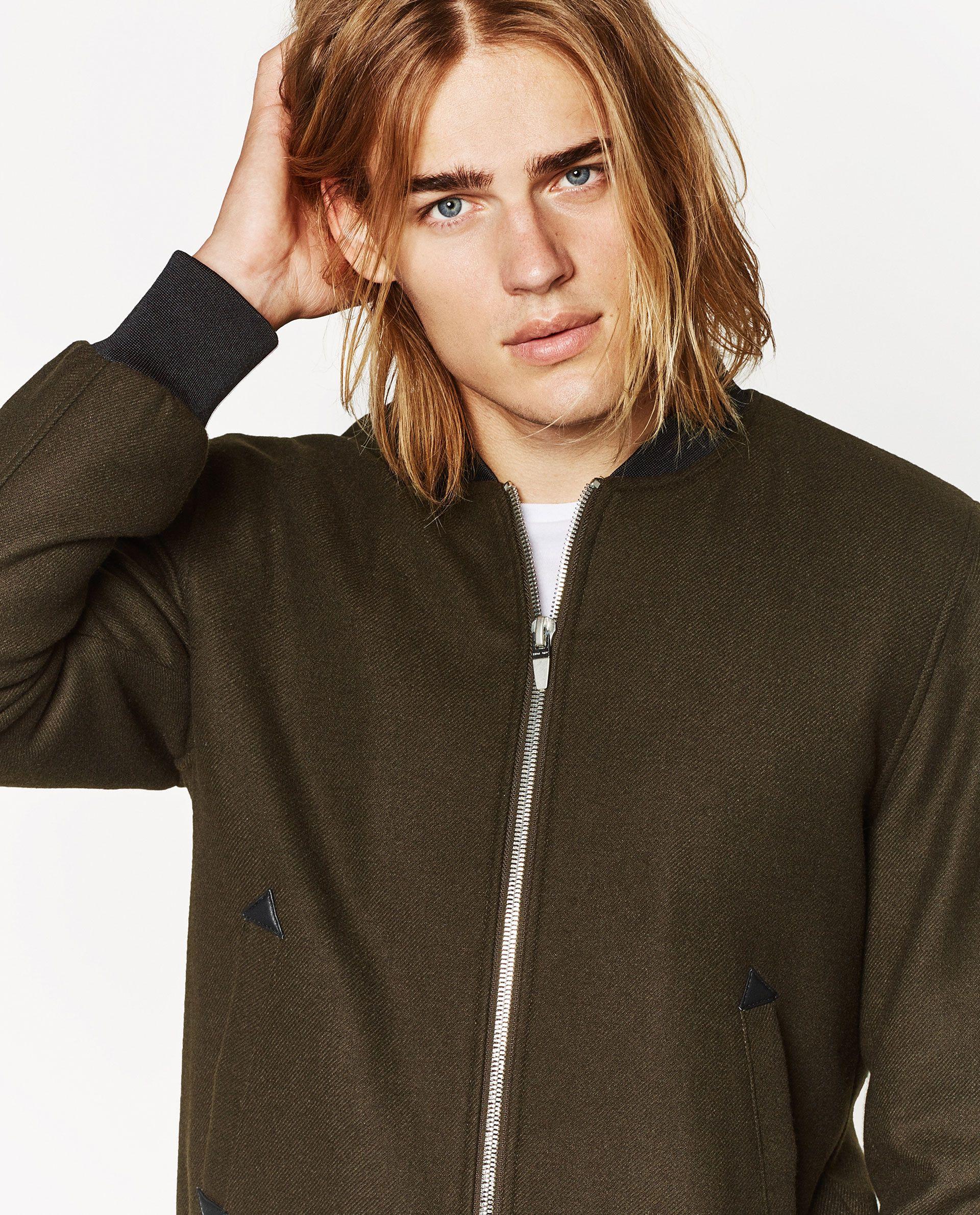 Cloth Bomber Jacket Zara Ton Heukels Male Model Long Hair