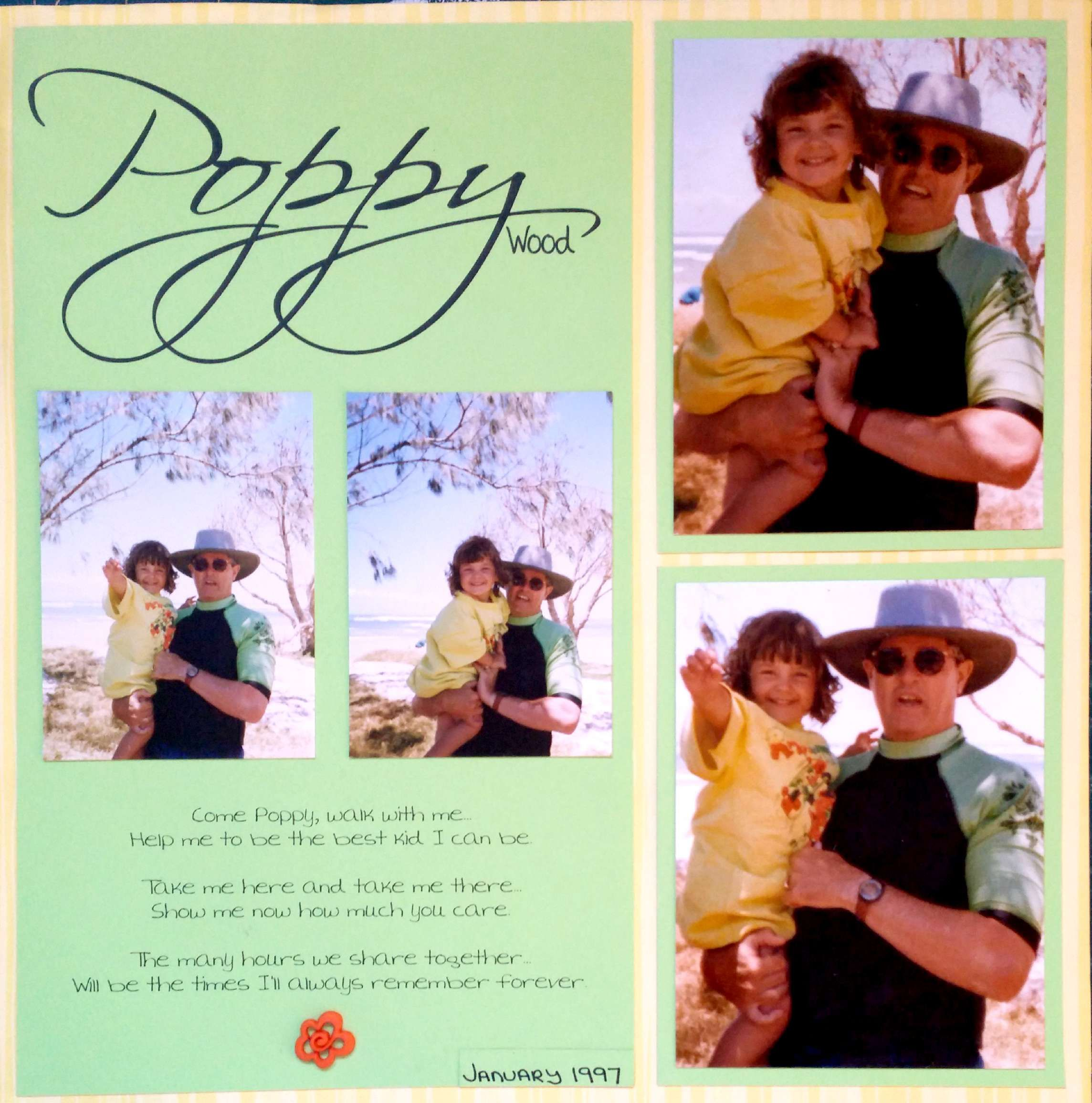 Scrapbook ideas no pictures - Scrapbook Layout 4 Photos Single Page Neon Green Yellow Beach Grandfather