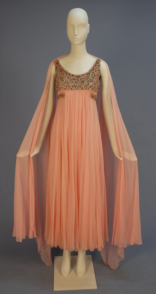 SOPHIE of SAKS BEADED CHIFFON EVENING GOWN, c. 1960 | Vintage ...