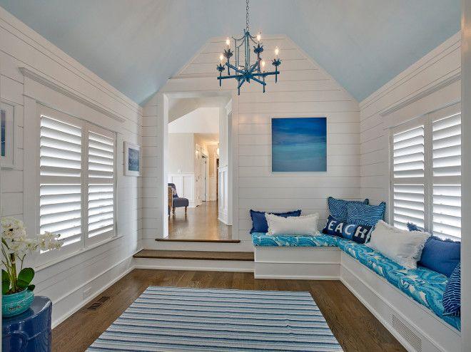Shiplap millwork bonus room with slanted ceiling and - Slanted ceiling paint ideas ...