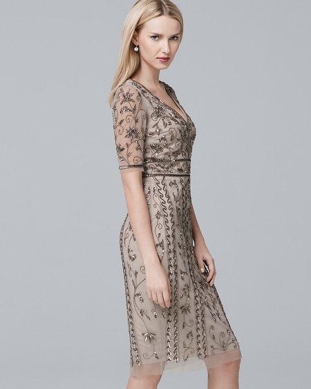 1f4fc99e Women's Adrianna Papell Short-Sleeve Beaded Sheath Dress by White House  Black Market